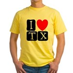 I Love TX Yellow T-Shirt
