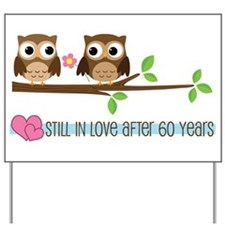 60th Wedding Anniversary Owls Yard Sign