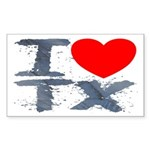 I Love TX Rectangle Sticker