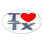 I Love TX Oval Sticker