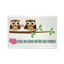 60th Wedding Anniversary Owls Rectangle Magnet