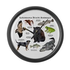 Louisiana State Animals Large Wall Clock