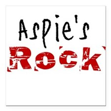 "Aspie's Rock Square Car Magnet 3"" x 3"""