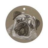 Pug Ornament (Round)