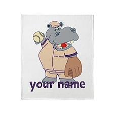 Personalized Softball Hippo Throw Blanket