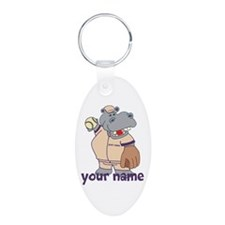 Personalized Softball Hippo Keychains