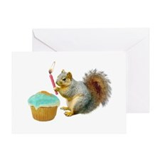 Squirrel Candle Cupcake Greeting Card