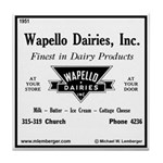 Wapello Dairy ad Tile Coaster