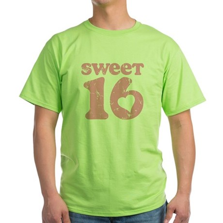 Retro Sweet 16 Birthday Green T-Shirt