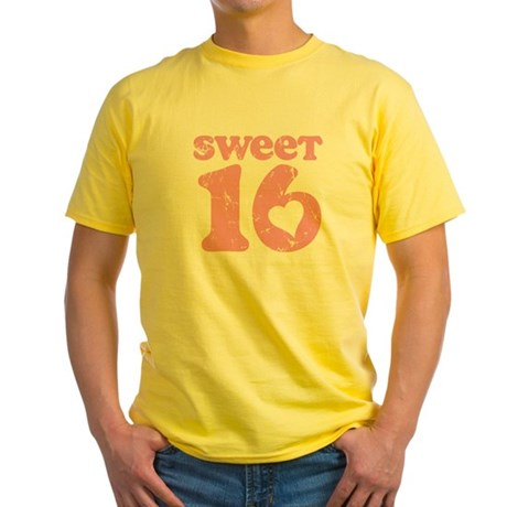 Retro Sweet 16 Birthday Yellow T-Shirt