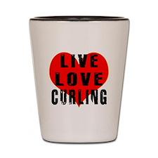 Live Love Curling Shot Glass