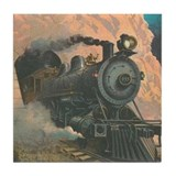 Antique Train Victorian Steam Engine Vintage Tile