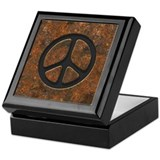 Rusty Peace Sign Keepsake Box
