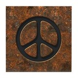 Rusty Peace Sign Tile Coaster