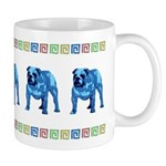 Blue Bulldog Mug With Border
