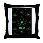 Boo! Spiders Creepy Green Throw Pillow