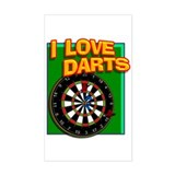 I LOVE DARTS Rectangle Decal