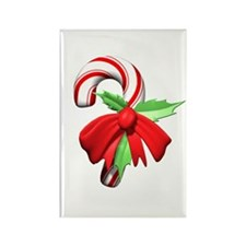 3D Candy Cane and Bow Rectangle Magnet