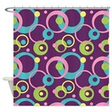 Funky Purple Circles Shower Curtain