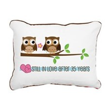Owl 35th Anniversary Rectangular Canvas Pillow