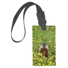Groundhog in field of wildflower Luggage Tag