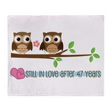Owl 47th Anniversary Throw Blanket