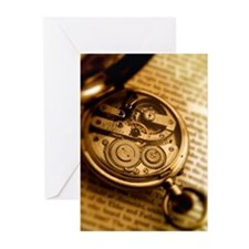 Pocket watch on book Greeting Cards (Pk of 20)