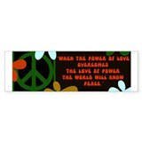 jimi retro -when the power of love...  Bumper Sticker