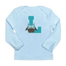 Letter L Monogram Initial Owl Long Sleeve Infant T