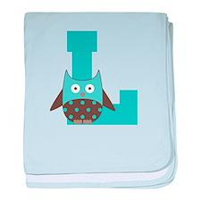 Letter L Monogram Initial Owl baby blanket