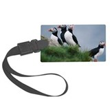 Puffins on hillside Luggage Tag
