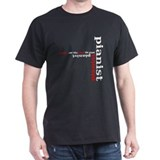 Black Pianist T-shirt (red)