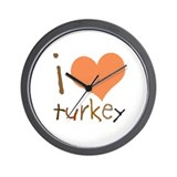 Kids I Love Turkey Wall Clock