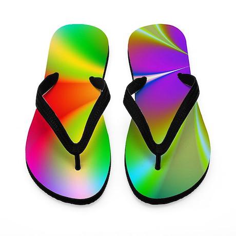 Funky Rainbow Floral Flip Flops