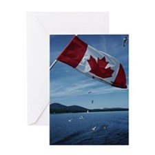 Canadian flag by water Greeting Card