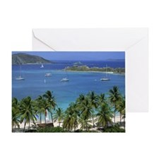Pristine harbor with boats Greeting Card