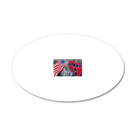 Union and Confederate flags  20x12 Oval Wall Decal