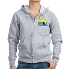 Black Labrador art deco tree ocean Zip Hoodie