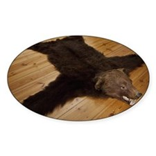A bear skin rug on wooden floorboar Decal