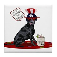 Black Lab 4th of July Tile Coaster