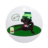 Black Lab Last Call Ornament (Round)