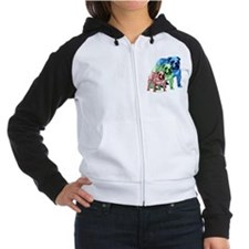 3 Color Bulldogs Design Women's Raglan Hoodie