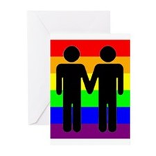 Men Holding Hands, Rainbow Ba Greeting Cards (Pack