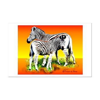 Zebra Mother & Baby - Mini Poster Print