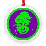 Buddha_green and purple.png Round Ornament