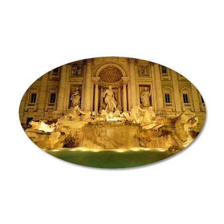 Trevi fountain at night, Rom 35x21 Oval Wall Decal
