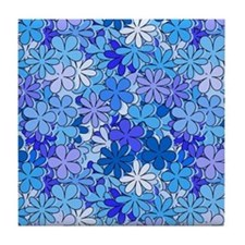 Groovy Blue Flowers Tile Coaster