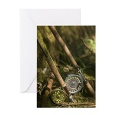 Close up view of two fly fishing rod Greeting Card