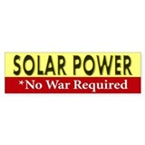 Solar Power *No War Required Bumper Car Sticker