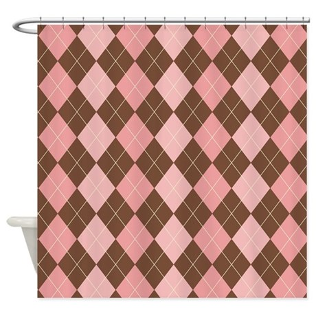 abstract bathroom d cor pink and brown argyle shower curtain